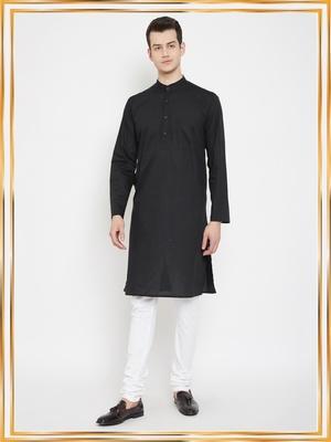 Black woven cotton men-kurtas
