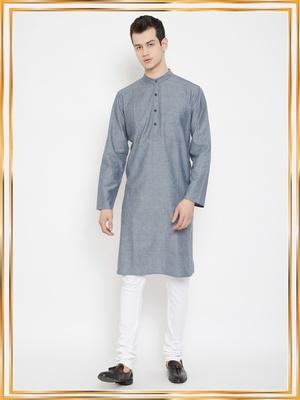 Grey woven cotton men-kurtas