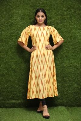 Women Yellow Long Kurti For Girls