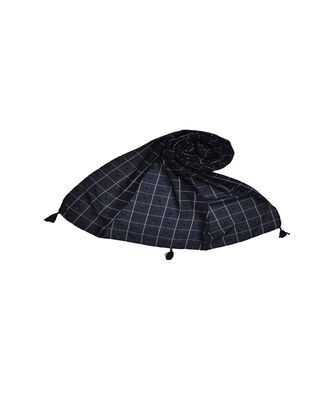 Premium Cotton Fabric - Box Checkered Designer Work Hijab - With 4 Sided Fringe's On The Border - Blue