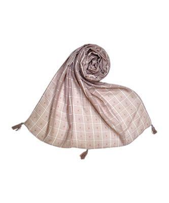 Premium Cotton Fabric - Box Checkered Designer Work Hijab - With 4 Sided Fringe's On The Border - Purple