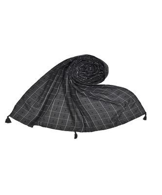 Premium Cotton Fabric - Box Checkered Designer Work Hijab - With 4 Sided Fringe's On The Border - Grey