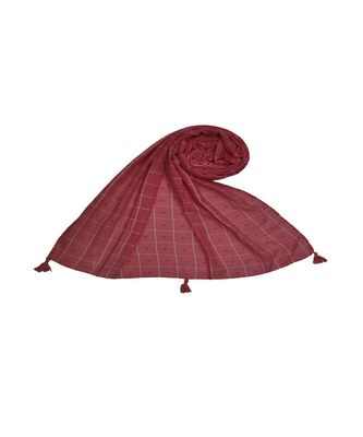 Premium Cotton Fabric - Box Checkered Designer Work Hijab - With 4 Sided Fringe's On The Border - Orange