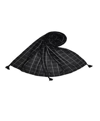 Premium Cotton Fabric - Box Checkered Designer Work Hijab - With 4 Sided Fringe's On The Border - Black
