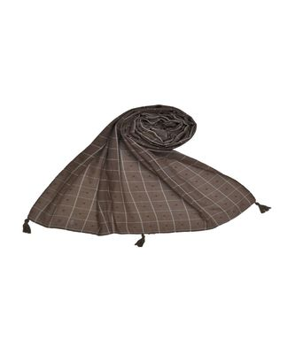 Premium Cotton Fabric - Box Checkered Designer Work Hijab - With 4 Sided Fringe's On The Border - Brown