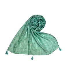 Premium Cotton Fabric - Box Checkered Designer Work Hijab - With 4 Sided Fringe's On The Border - Green
