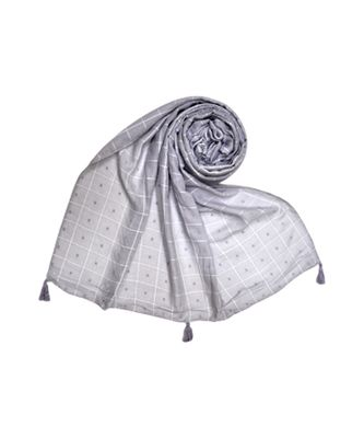 Premium Cotton Fabric - Box Checkered Designer Work Hijab - With 4 Sided Fringe's On The Border - Grey