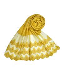 Best Of All Time - Premium Cotton Fabric - Designer 3 Liner Mountain Design Hijab - Pearl On Every Design - Yellow