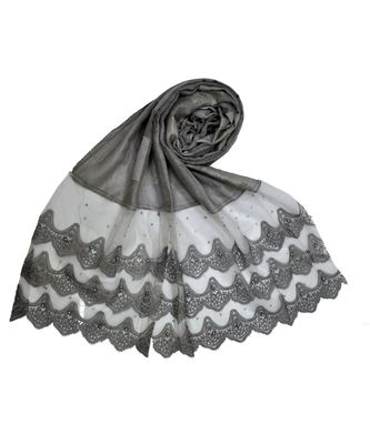Best Of All Time - Premium Cotton Fabric - Designer 3 Liner Mountain Design Hijab - Pearl On Every Design - Grey