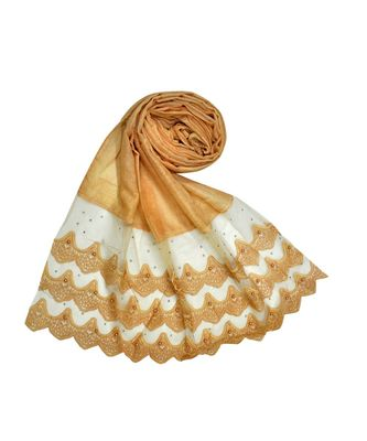 Best Of All Time - Premium Cotton Fabric - Designer 3 Liner Mountain Design Hijab - Pearl On Every Design - Orange