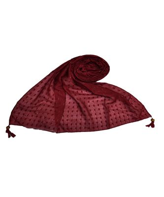 - Shining Silver Liner All Over The Stole - Best For Party Wear - Fringe's On The Border Of The Stole - Maroon
