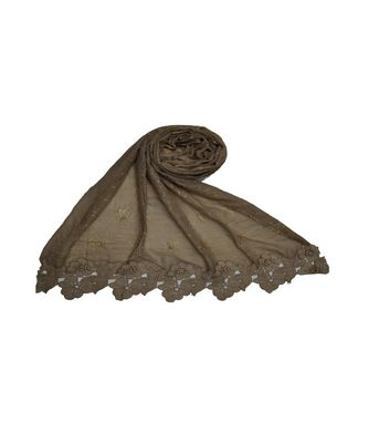 Best Selling Basic Hijab - Back To Basics - Fabric - Rich Cotton - Goldenish Finish Textured All Over The Stole - Brown