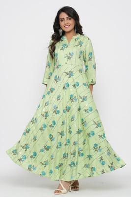 Ardozaa Women's Rayon Printed Flared Long Dress Gown (Green)