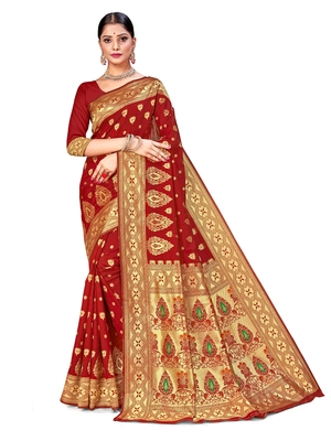 Mehrang Multicolor silk woven sarees with Blouse (Red)
