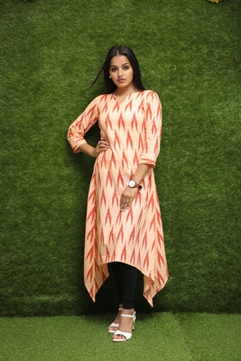 Women Orange Long Kurti