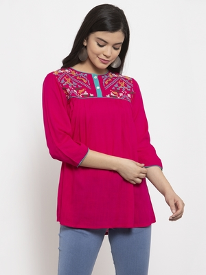 Magenta embroidered rayon kurtas-and-kurtis