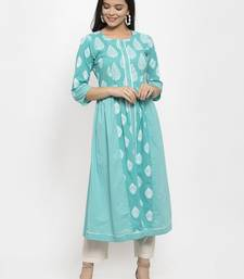 Sea-green printed cotton kurtas-and-kurtis