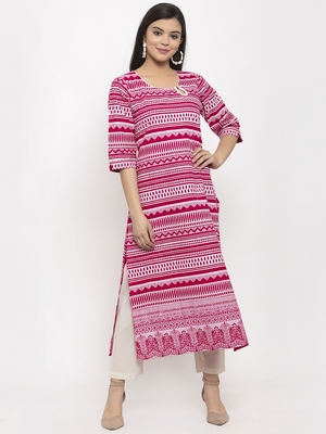 Magenta printed cotton kurtas-and-kurtis