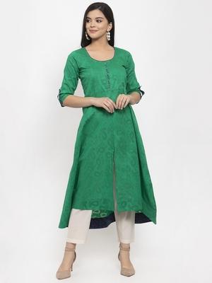 Green plain jacquard kurtas-and-kurtis
