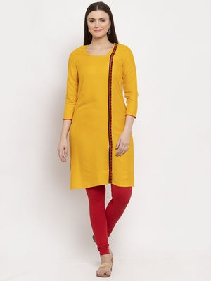 Mustard embroidered rayon kurtas-and-kurtis