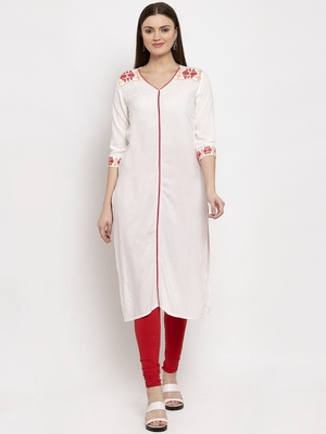 Cream embroidered rayon kurtas-and-kurtis