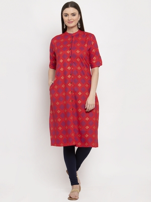 Red printed rayon kurtas-and-kurtis
