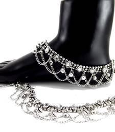 Buy silver plated kundan bridal anklet anklet online