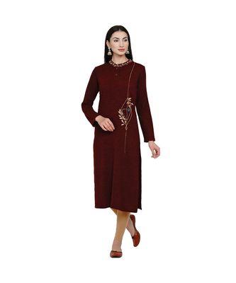 women winter acrylic maroon embroidered kurta