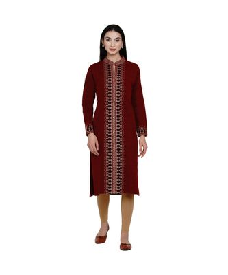 women winter acrylic maroon self design kurta