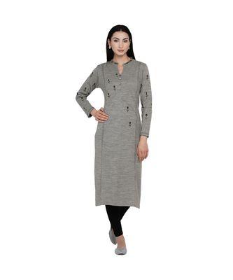 women winter acrylic grey embroidered kurta