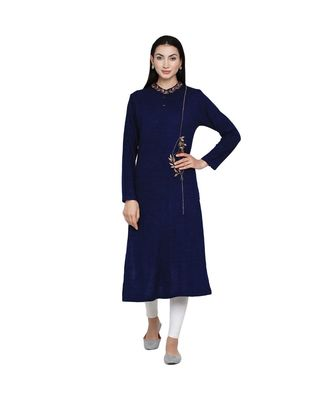women winter acrylic navy self design embroidered kurta