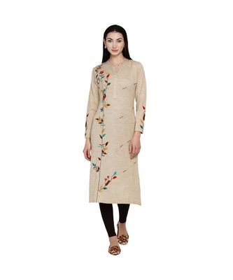 women winter acrylic beige embroidered kurta with bead work