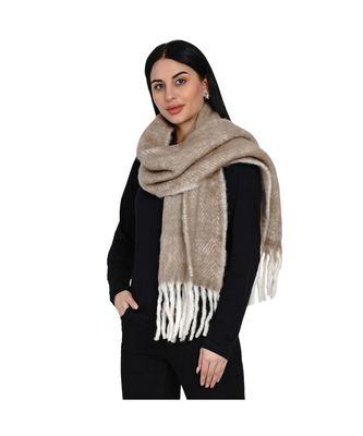 women wool blend herringbone design beige scarf