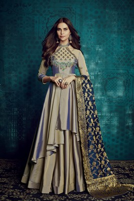 Grey Embroidered Taffeta Silk Party Wear Suit