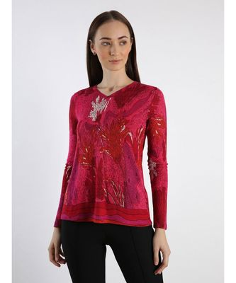 Pink printed Cashmere Sweater