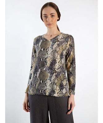 Python printed Cashmere Sweater