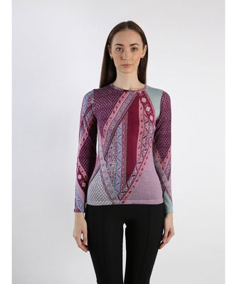 Pink and purple silk wool cashmere printed sweater