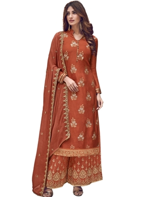 Brown embroidered jacquard salwar