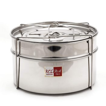 KCL Cooker Separator Stainless Steel for Outer Lid Pressure Cooker, 5-litres (2 Containers with Lifter)- Diamater