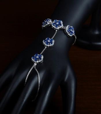 Rhodium Plated Sapphire Embellished American Diamond Hathphool BD435