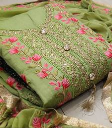 Perrot colour Embroidered Chanderi Unstitched Salwar With Dupatta