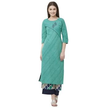 Green plain cotton poly ethnic-kurtis