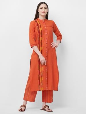 Orange printed cotton ethnic-kurtis