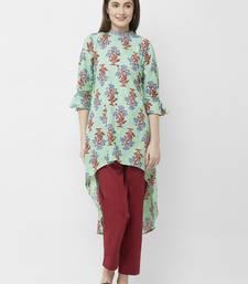 Green printed cotton poly ethnic-kurtis