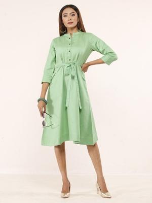 Green plain linen ethnic-kurtis