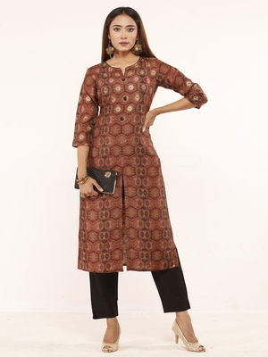 Brown printed art silk ethnic-kurtis