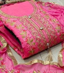 Pink colour  Embroidered Chanderi Unstitched Salwar With Dupatta