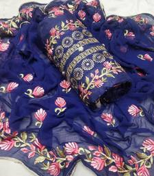 Blue colour  Embroidered Chanderi Unstitched Salwar With Dupatta