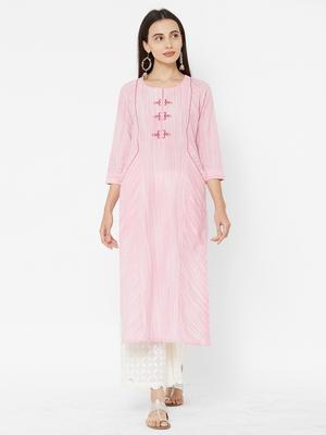 Pink printed cotton ethnic-kurtis