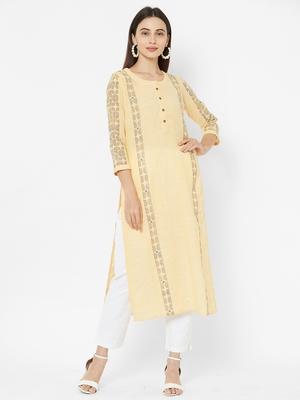 Yellow printed cotton poly ethnic-kurtis